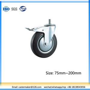 Double Brake Industrial Rubber Caster with Thread, Steel Core, Roller Bearing pictures & photos