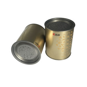 Gold Color Cylinder Tea Caddy Factory Price pictures & photos