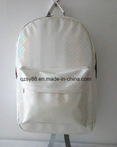 White Color PVC Leather Backpack Laptop Bag