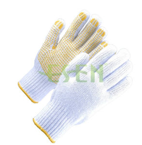 Natural White Cotton Worked Gloves with Blue PVC Yellow Dots pictures & photos