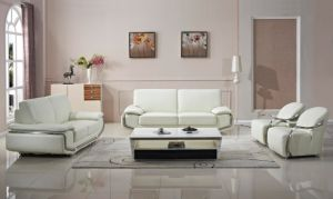 Luxury Steel Arm White Color Leather Sofa Set pictures & photos