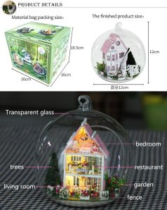 Miniature Glass Ball DIY Wooden Dollhouse with Light pictures & photos