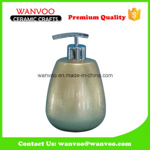 High-Capacity Wholesale Golden Ceramic Soap Lotion Dispenser for Bathroom Vanities pictures & photos