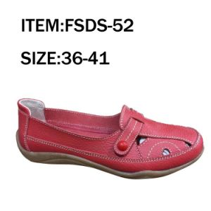 Red Single Shoes Women Leather Casual Shoes Outdoor pictures & photos