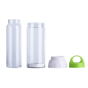 Double wall 500ml clear glass bottle with handle lid, BPA free water bottle glass pictures & photos