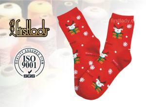 2016 Hot Selling Women Christmas Jacquard Cotton Socks