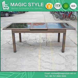Auto-Extension Table 160/210cm Wicker Dining Set (Magic Style) pictures & photos