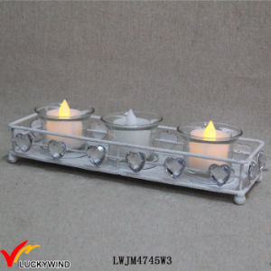 White Metal Vintage Tea Light Holders with Crystal Love Hearts pictures & photos