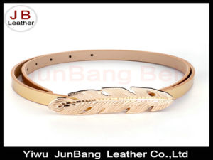 Leaf Shape Plate Clasp Buckle PU Leather Belt for Ladies Dress pictures & photos