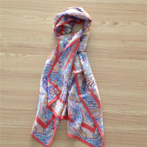 Printed Silk Mesh Scarf in Cashew Pattern