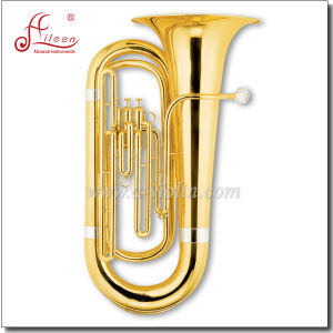 3 Valves Gold Lacquer Bb Key Piston Tuba pictures & photos