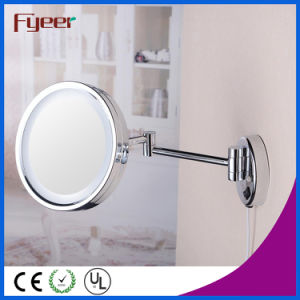 Fyeer Single Side Foldable Brass Makeup Mirror with LED Light pictures & photos