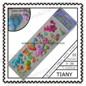 Cartoon Sponge Glitter Fabric Puffy Stickers for Kid R39