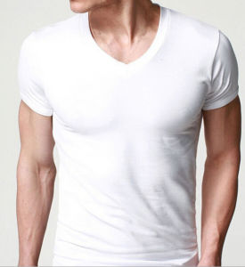 2016 Classic Cotton Men′s Popular V-Neck Undershirts pictures & photos