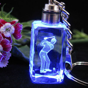 LED Crystal Keychain Glass Keychain with Logo for Promotional Gift pictures & photos