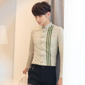 Men′s Slim Fit Strip Cotton Leisure Shirt pictures & photos