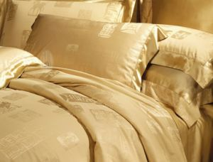 Taihu Snow Silk Traditional Oeko-Tex Jacquard Seamless Grey Silk Comforter Set pictures & photos