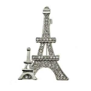 Fashion Rhinestone Gold Plated Zinc Alloy Eiffel Tower Brooch pictures & photos
