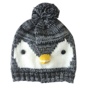 Acrylic Knitted Hat in Penguins Pattern