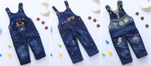 P1123 2015 New Arrival Winter Cute Fashion Thick Denim Embroidered Cartoon Children Overalls Suspender Thousers Kids Pants pictures & photos