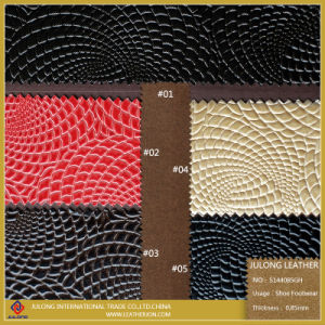 Shiny Spiral Stone Effect PU Leather for Shoes (S144) pictures & photos