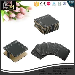 China Supplier Promotional Square Custom Leather Tea Cup Coaster (1521) pictures & photos