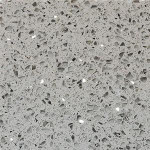 Stella White / Grey Mirror Fleck Artificial Quartz Polished Stone Slab pictures & photos