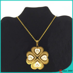 Stainless Steel Gold Pear Flower Necklace Wholesale (FN16040904)