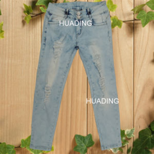 Newest Design Scuffed Broken Ladies Deninm Jeans (HDLJ0046) pictures & photos