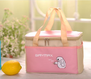 Pink Polyester Handle Cooler Bag with Zipper