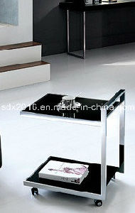 Modern Living Room Glass Rotatable Stainless Steel Sofa Table with Wheels pictures & photos