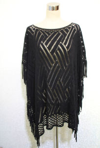Lady 100% Acrylic Knitted Fashion Hollow Fringed Shawl Poncho (YKY4512) pictures & photos
