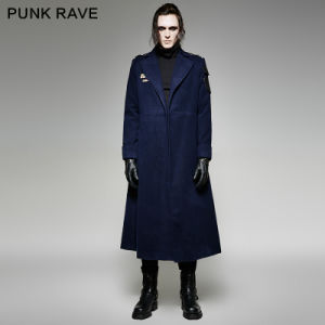 Y-697 Gothic Men Winter Military Uniform Style Big Turn Down Collar Long Coat pictures & photos
