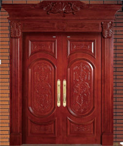 Red Brown High Quality Double Solid Wood Door with Carving pictures & photos