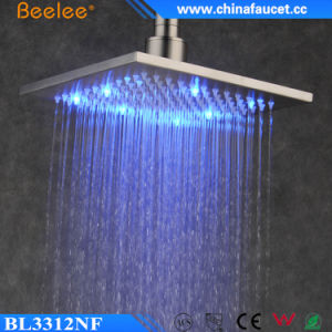 12-Inch Stainless Steel Nickel Brushed LED Ceiling Shower Head