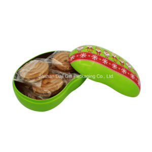 High Fashion Bean Shaped Decorated Christmas Tin Box (B001-V9) pictures & photos
