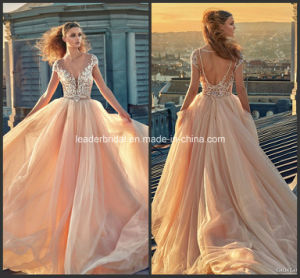 Diamante Party Prom Gowns Champagne Blue Beading Evening Dress Gv2016 pictures & photos