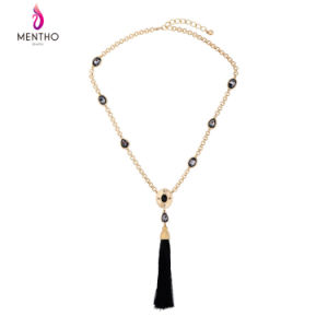 New Retro Alloy Water-Drop Shaped Crystal Studded Long Tassel Sweater Necklace for Women pictures & photos