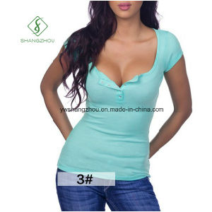 Hot Sale European V-Collar Short Sleeved with Button Ladies T-Shirt pictures & photos