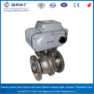 China Made Flange Cast Steel Floating Electric Ball Valve pictures & photos