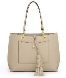 Designer Beige Shopping Bag Tote PU Women Bag with Tassel pictures & photos