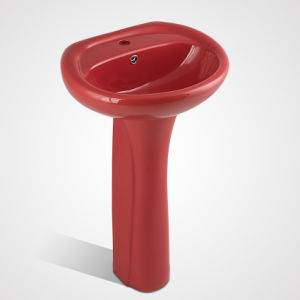 Latest New Porcelain Single Hole Hand Wash Pedestal Basin pictures & photos