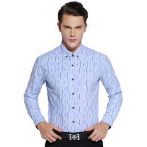Top Quality 100% Cotton Blue Men Formal Business Dress Shirts pictures & photos