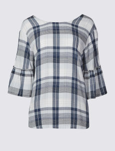 Plaid Checked Round Neck Half Sleeve Shell Tops pictures & photos