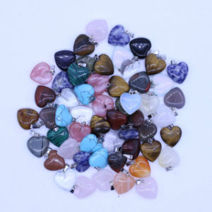 16mm Natural Crystal Stone Heart Lover′s Charms Necklaces Pendants pictures & photos