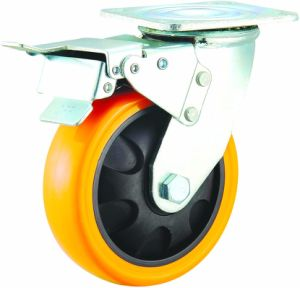 4/5/6/8 Inch Heavy Duty Orange PU Caster Wheel with Double Brake pictures & photos