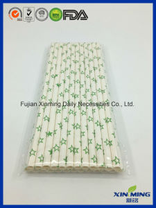 Party Supply Green Star Pattern Paper Straw pictures & photos
