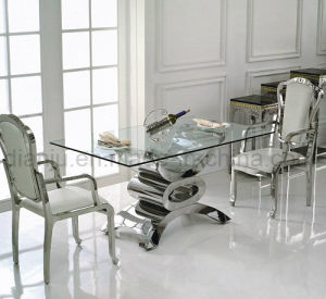 Dining Table Stainless Steel Feet and Glass (A8816-1) pictures & photos