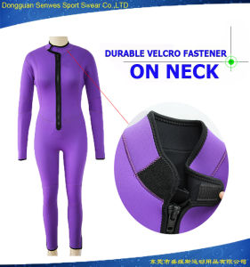 OEM Women Purple Front Zip Full Neoprene Diving Wetsuit
