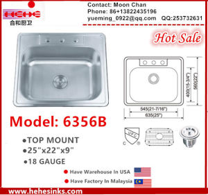 Stainless Steel Topmount Sink 2522 (6356) with Cupc Certifaction pictures & photos